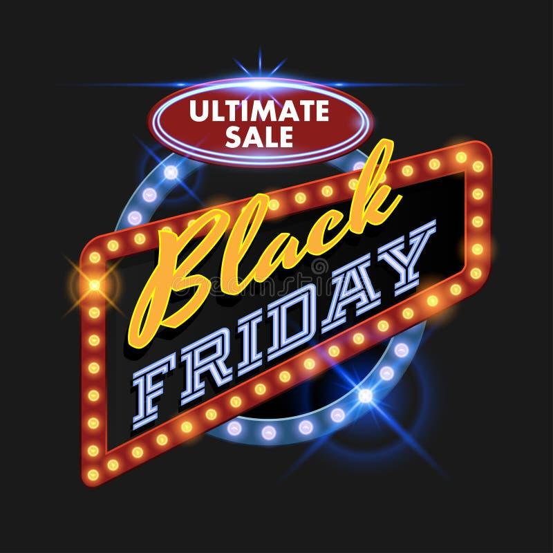 Quadro de avisos retro de Black Friday ilustração stock