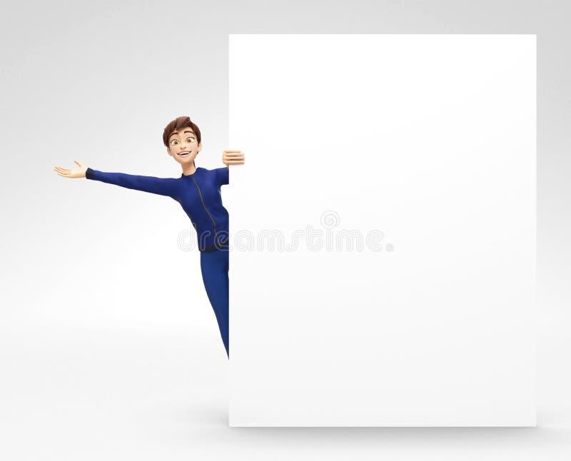 Quadro de avisos vazio do produto e modelo da bandeira anunciado pelo sorriso e por Jenny feliz - caráter fêmea dos desenhos anim ilustração stock