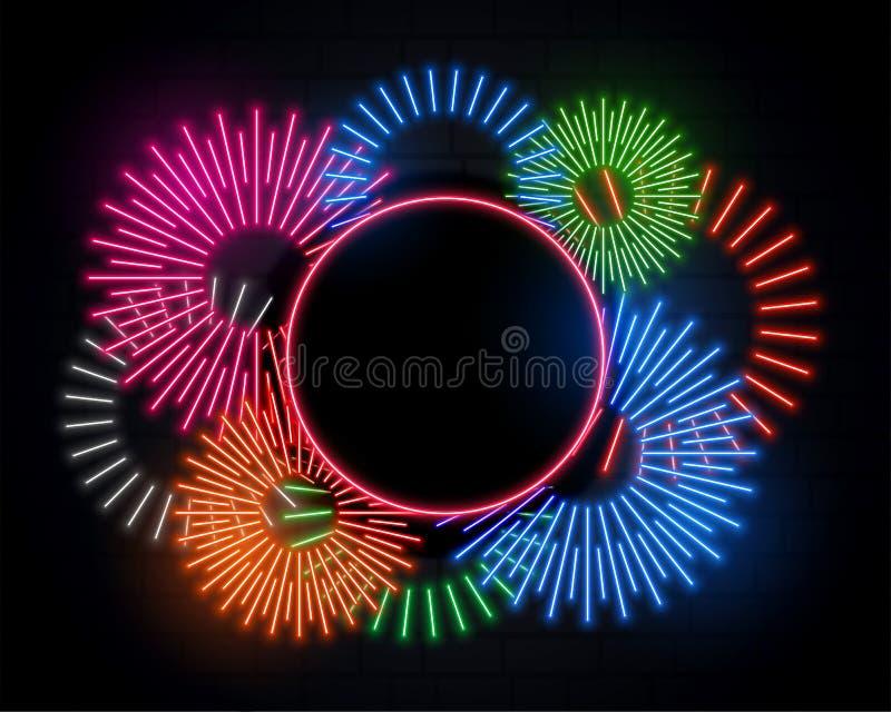 Quadro de celebração do Fireworks em estilo neon e espaço de texto ilustração royalty free