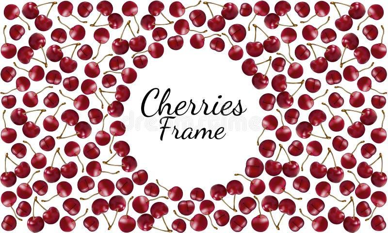 Quadro de cerejas vermelhas maduras com os ramos com espaço redondo para o texto ilustração royalty free