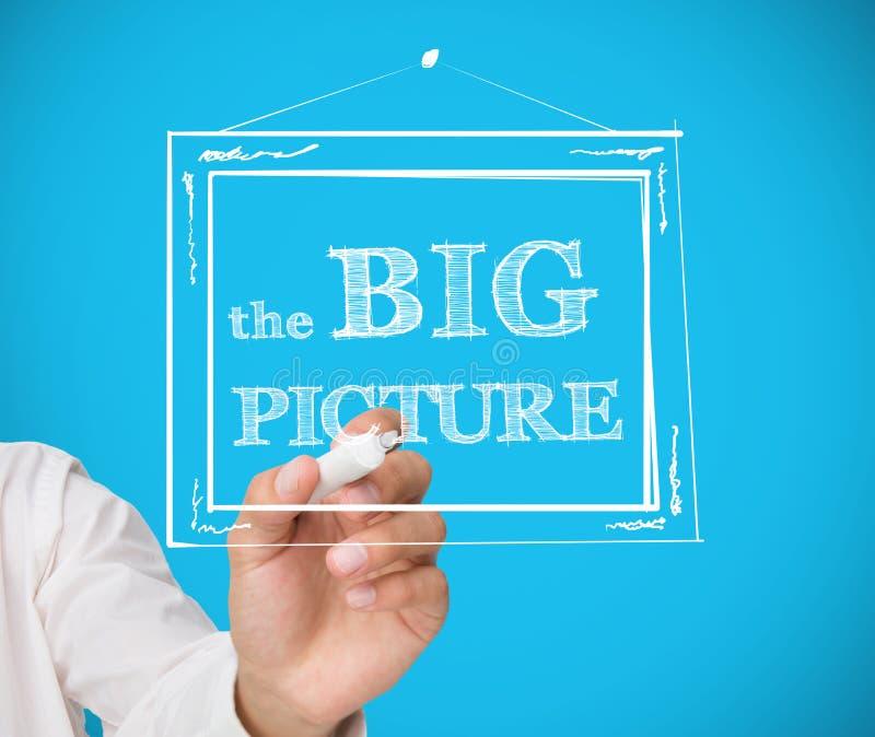 Quadro de desenho do homem de negócios com a imagem grande nela fotos de stock