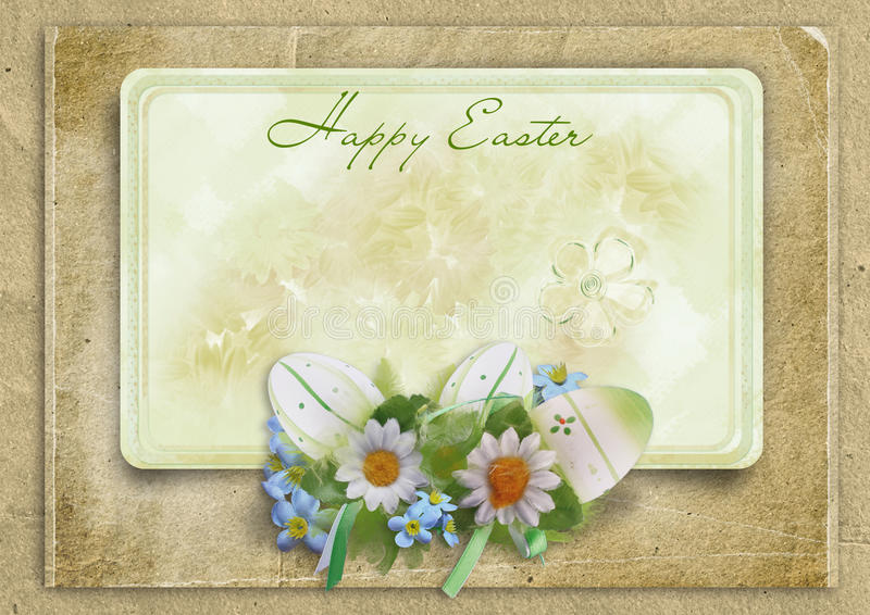 Quadro de Easter do cumprimento com ovos e coelho em um backgroun do vintage ilustração royalty free