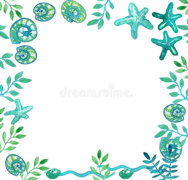 Quadro de escudos do mar, de estrelas de mar e de algas ilustração stock