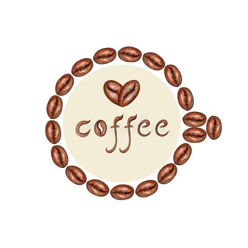 Quadro de feij?es de caf? ilustração royalty free