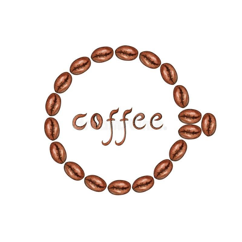 Quadro de feij?es de caf? ilustração stock