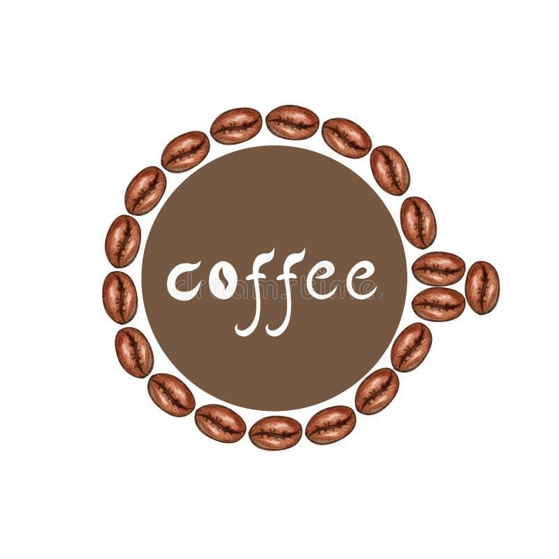 Quadro de feij?es de caf? ilustração do vetor