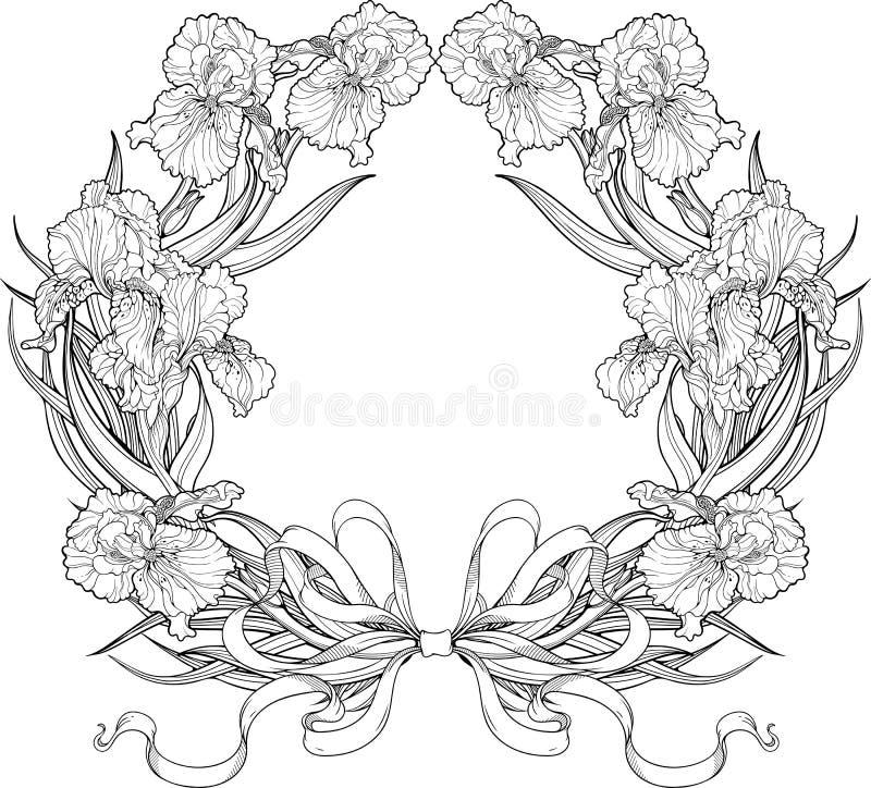 Quadro de flores da íris com fitas ilustração stock
