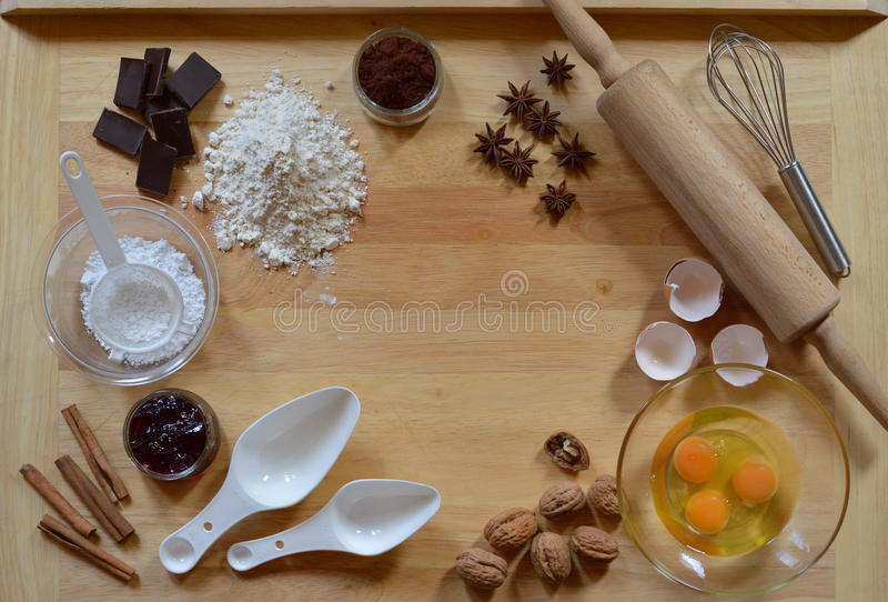 Quadro de ingredientes do cozimento imagem de stock