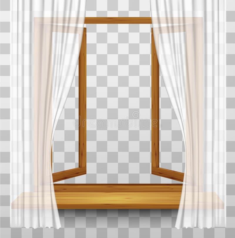 Quadro de janela de madeira com cortinas em um fundo transparente ilustração royalty free