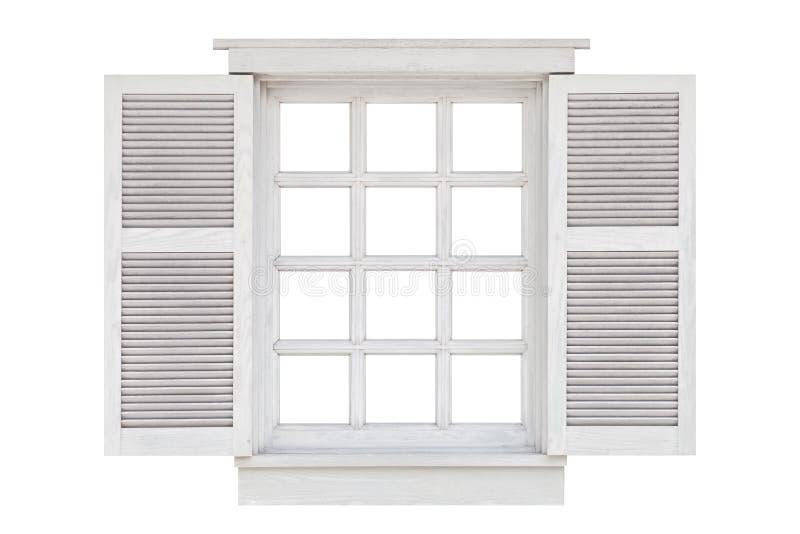 Quadro de janela de madeira isolado no branco imagem de stock
