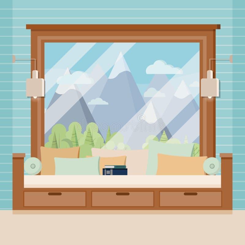 Quadro de janela panorâmico francês da sala de madeira com livro, sofá, descansos, lâmpadas da luz da noite ilustração royalty free