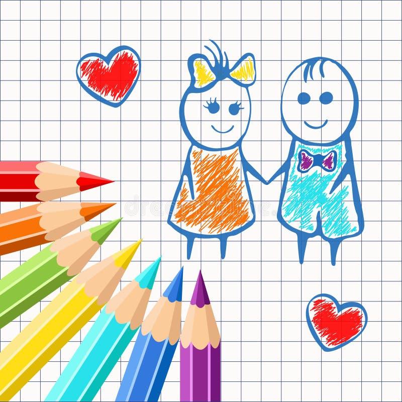 Quadro de lápis coloridos no livro de exercício do fundo em uma gaiola, com a menina dos desenhos animados e o menino pintados Pa ilustração royalty free