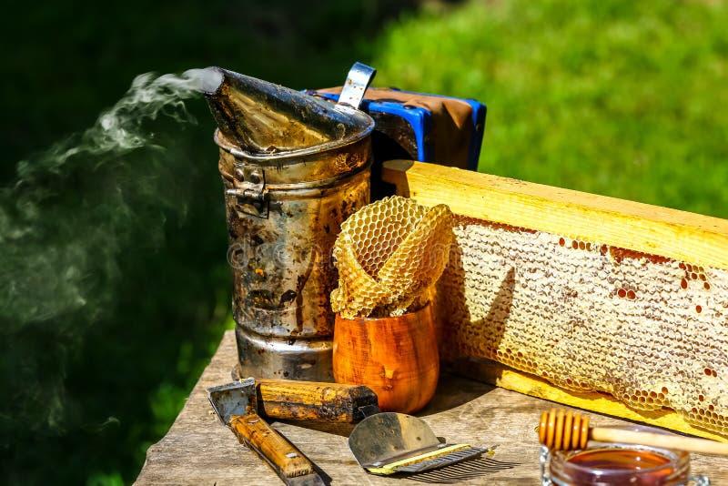 Quadro de madeira com as pilhas completas do mel seladas com cera, ferramentas para a apicultura fora com espaço da cópia imagem de stock