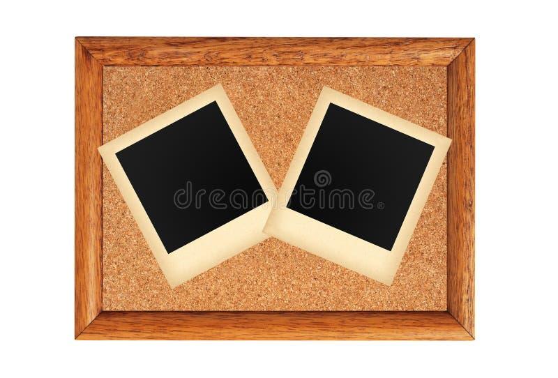 Quadro de madeira com a foto velha vazia isolada no branco imagem de stock