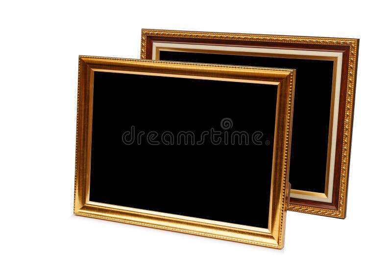 Quadro de madeira da foto do vintage do ouro isolado no branco Salvar com cl imagem de stock