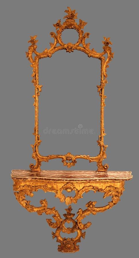 Quadro de madeira do espelho antigo isolado imagens de stock royalty free