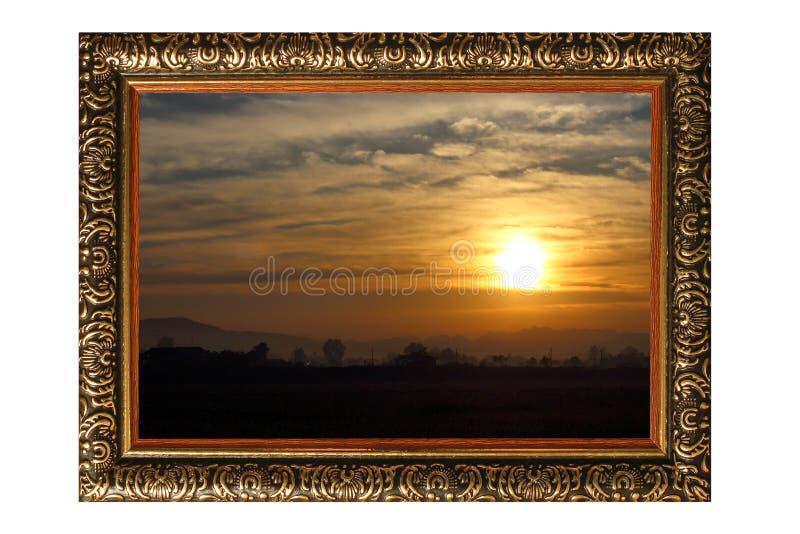 Quadro de madeira do vintage com aumentação nova do sol isolado no branco fotografia de stock