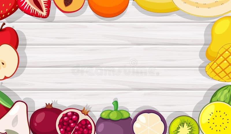 Quadro de madeira de fruto tropical do verão ilustração royalty free
