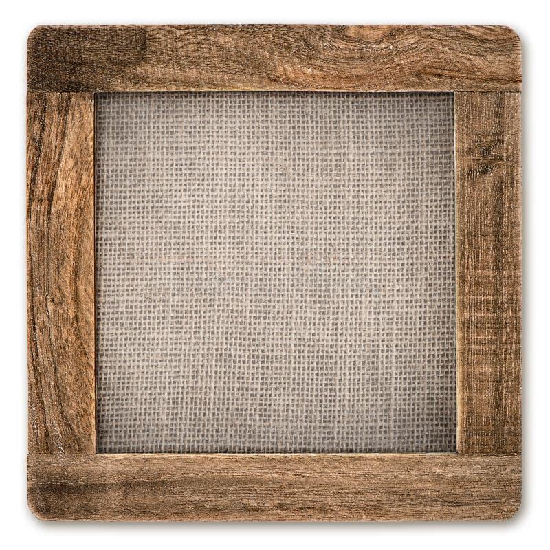 Quadro de madeira rústico do vintage com lona no branco fotos de stock