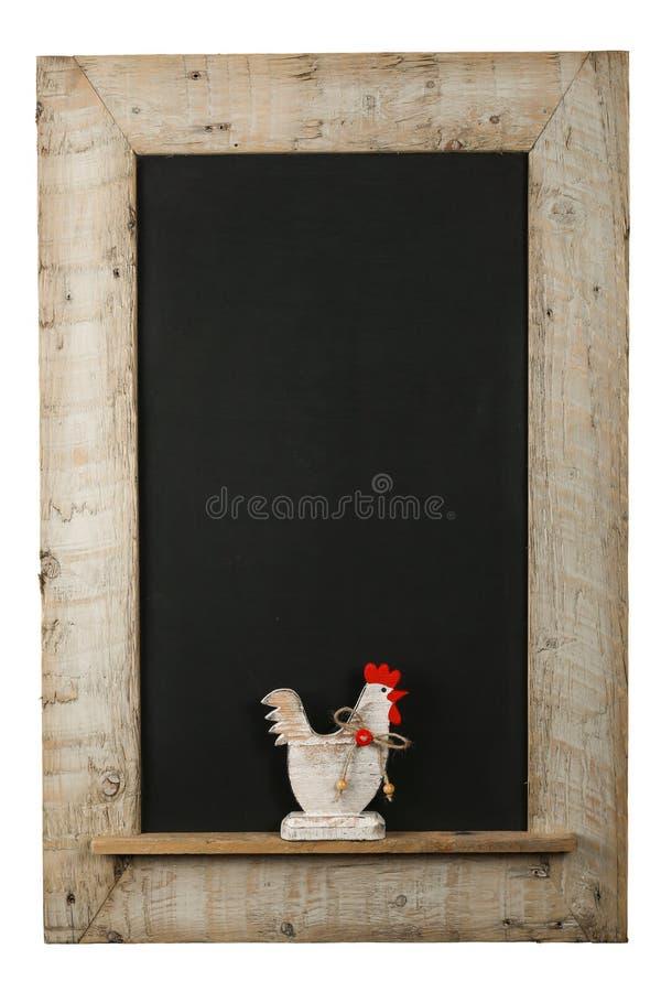 Quadro de madeira recuperado quadro dos galos da galinha da Páscoa do vintage foto de stock royalty free