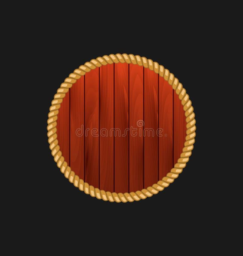 Quadro de madeira redondo com a corda isolada no fundo escuro ilustração royalty free