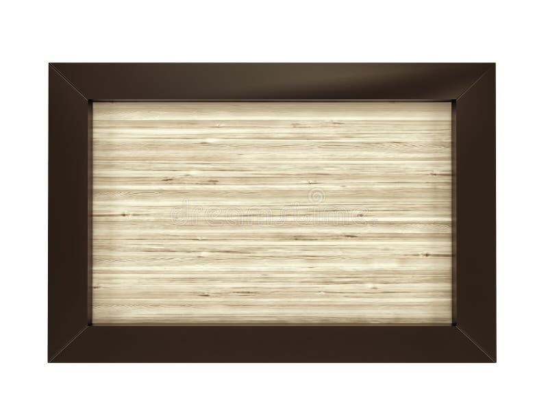 Quadro de madeira retangular no fundo branco 3d rendem ilustração royalty free