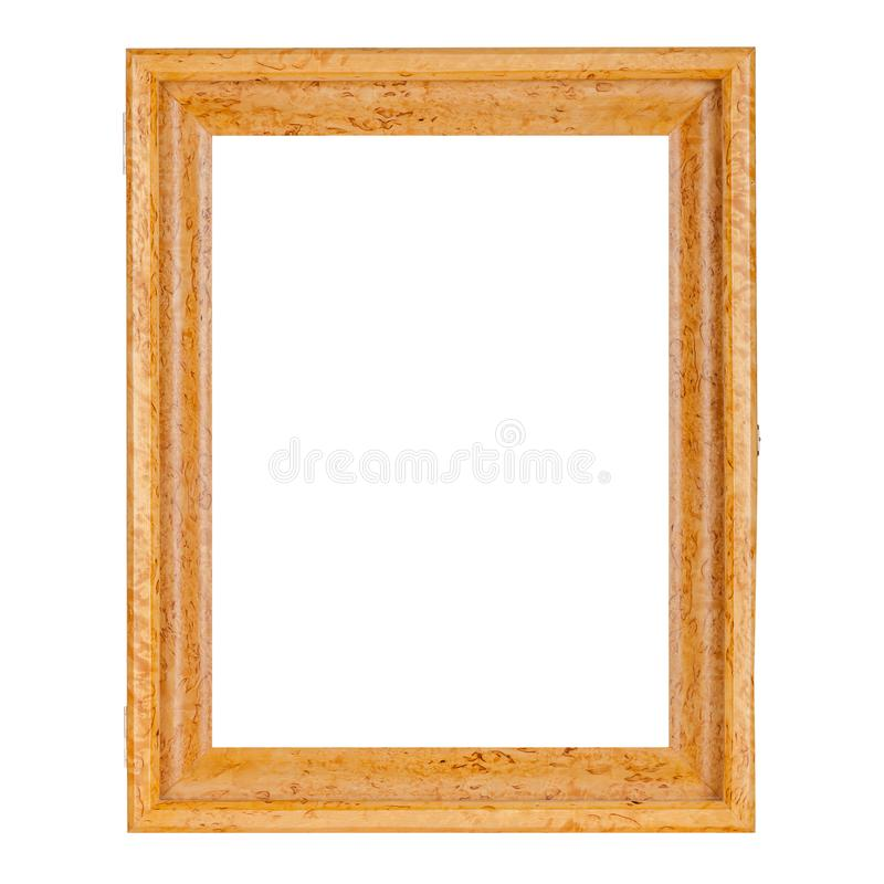Quadro de madeira vazio da cor natural dourada para imagens fotografia de stock royalty free