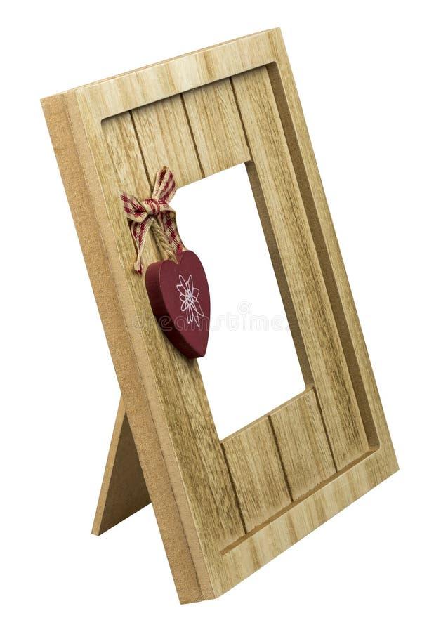 Quadro de madeira vazio para a mesa, vista lateral da foto, isolada no fundo branco Trajeto de grampeamento incluído fotos de stock royalty free