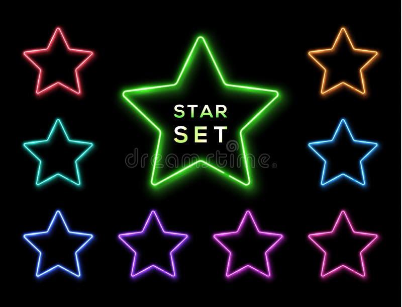 Quadro de néon colorido da estrela ajustado no fundo preto ilustração stock