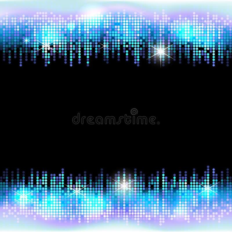 Quadro de néon do mosaico do brilho do partido de disco com espaço vazio para o texto, fundo brilhante do mosaico do vetor ilustração do vetor