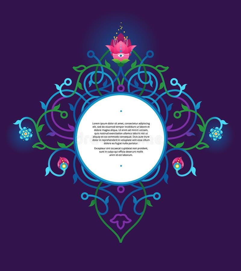Quadro de néon do vetor no estilo oriental, cor ácida ilustração do vetor