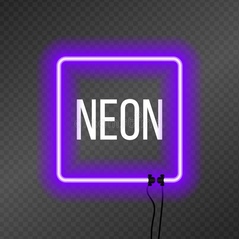Quadro de néon quadrado no fundo da transparência ilustração stock