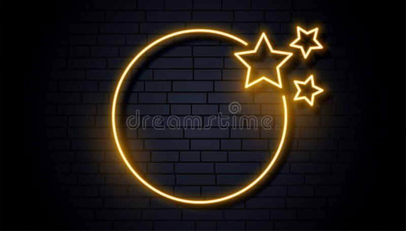 Quadro de néon vazio do signage com três estrelas ilustração do vetor