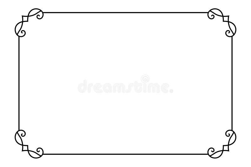 Quadro de página decorativo decorativo Linha molde do vetor da beira do estilo foto de stock royalty free