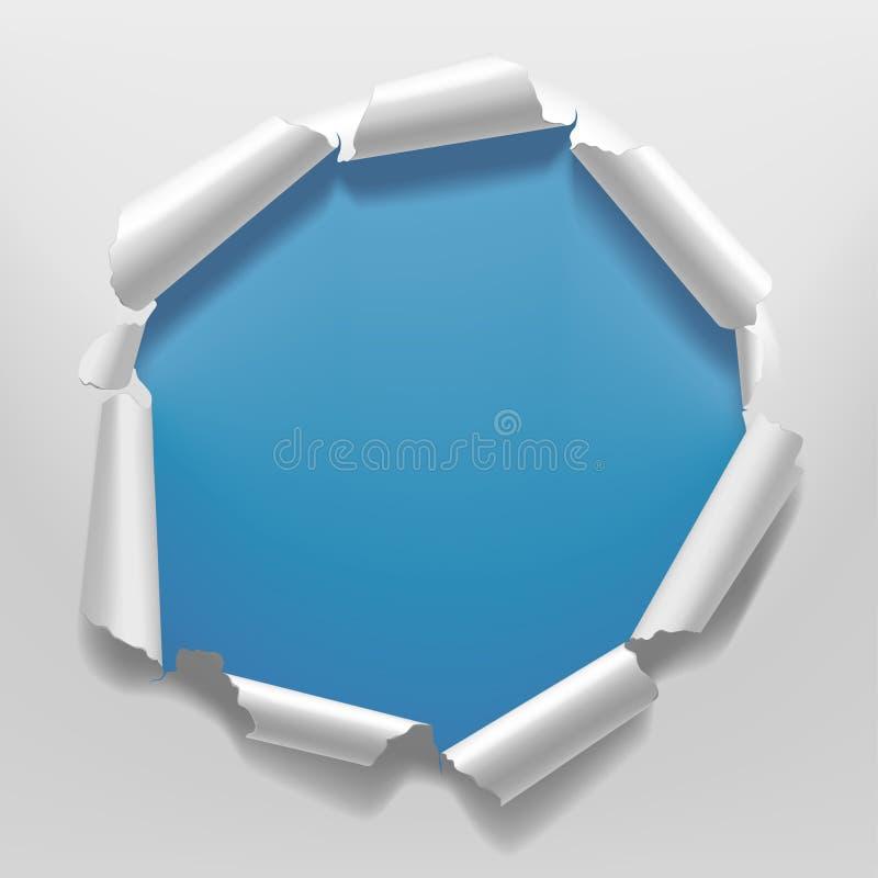 Quadro de papel rasgado branco com um furo no fundo azul do fundo ilustração royalty free