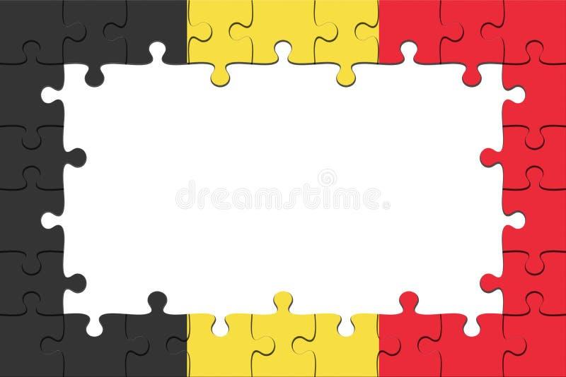 Quadro de partes do enigma de serra de vaivém da bandeira de Bélgica com espaço da cópia, ilustração 3d ilustração do vetor