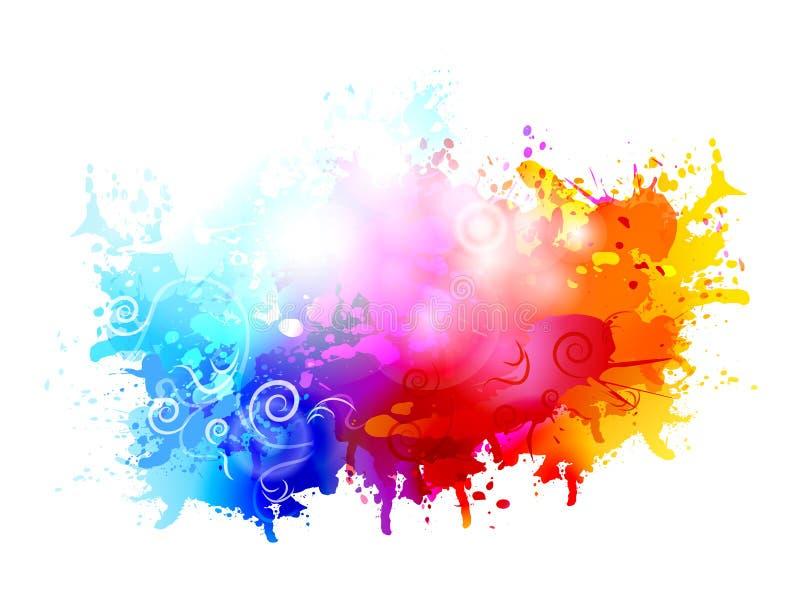 Quadro de pintura festivo do fundo da textura da nuvem colorida do grunge do sumário ilustração royalty free