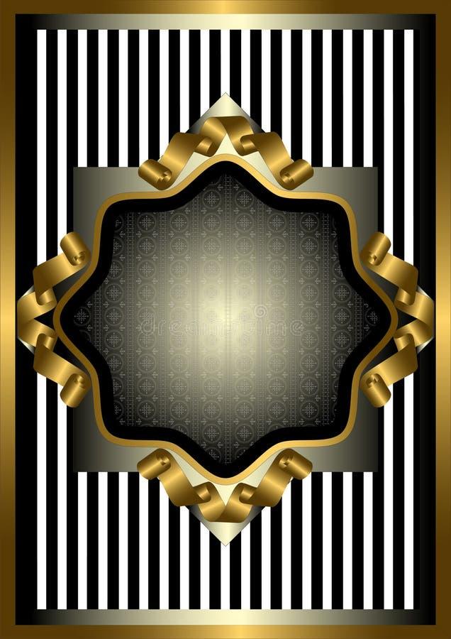Quadro de prata com a decoração do ouro em fundo listrado ilustração royalty free