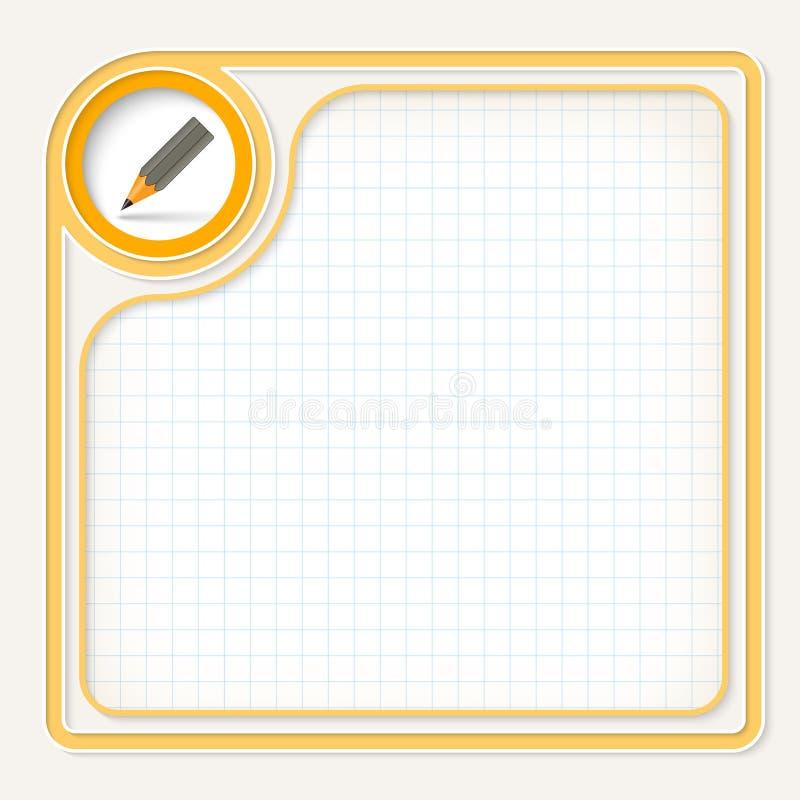 Quadro de texto amarelo ilustração do vetor