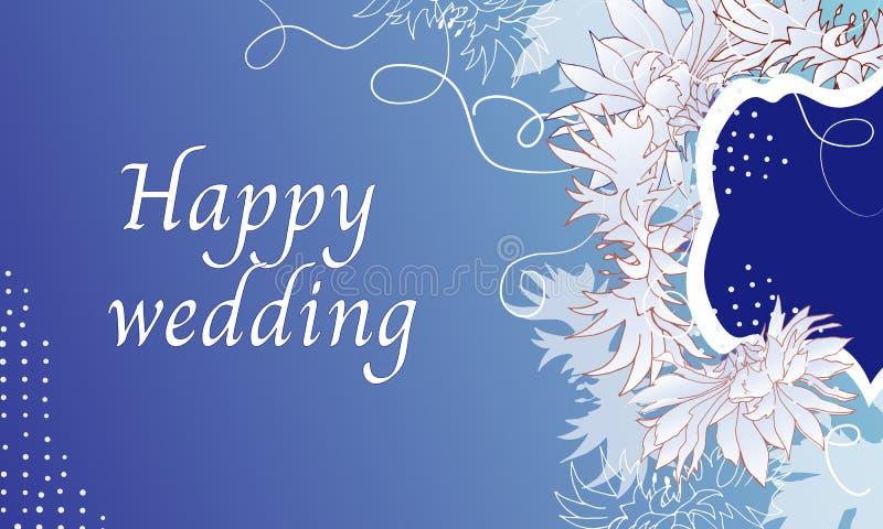 Quadro de texto para flores elegantes da luz do convite do casamento em um fundo azul Ilustra??o do vetor ilustração do vetor