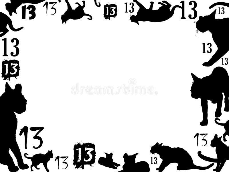 Quadro de treze gatos pretos ilustração do vetor