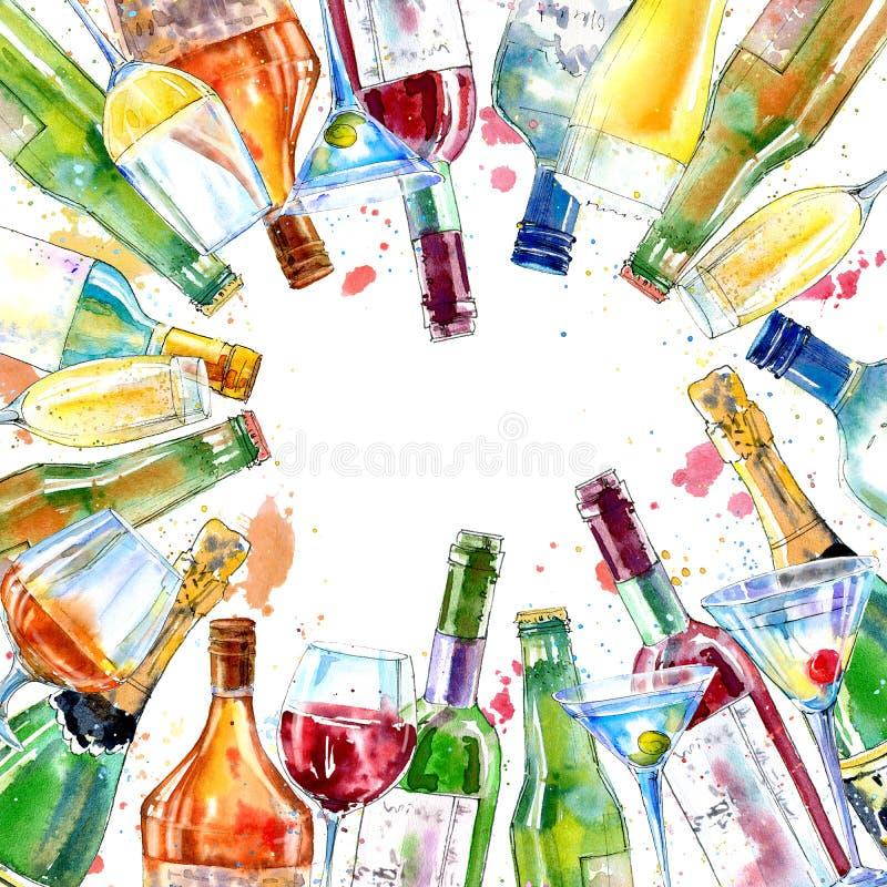 Quadro de um champanhe, de um conhaque, de um vinho, de um martini, de uma cerveja e de um vidro ilustração royalty free