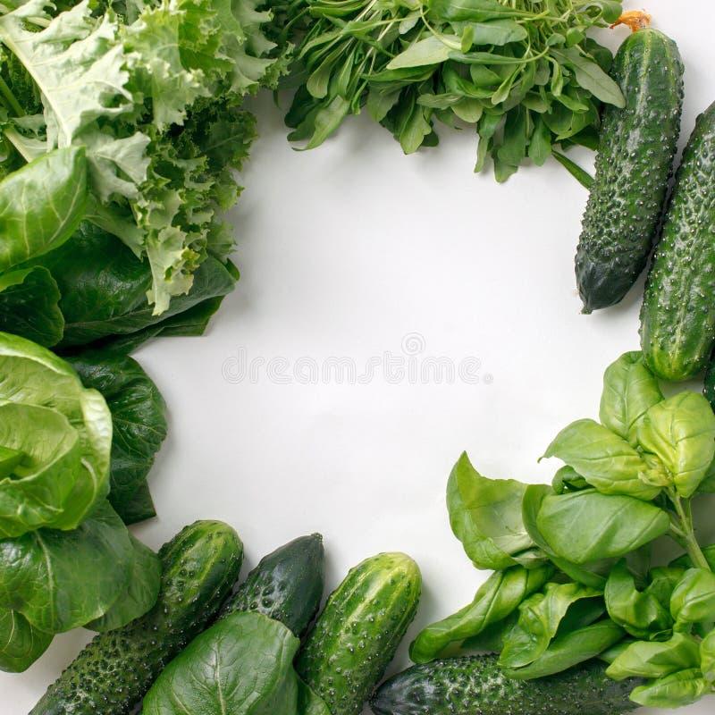 Quadro de vegetais e de ervas orgânicos frescos no fundo branco Alimento natural saud?vel na tabela com espa?o da c?pia cozinhar fotos de stock royalty free