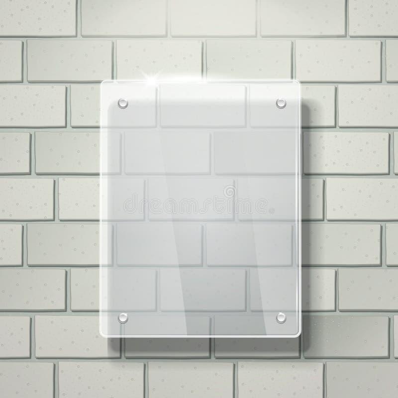quadro de vidro da placa do vetor 3d na parede de tijolo branca ilustração royalty free