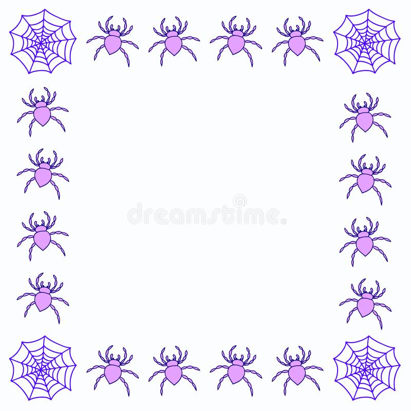 Quadro de Web tirado mão da aranha ilustração do vetor