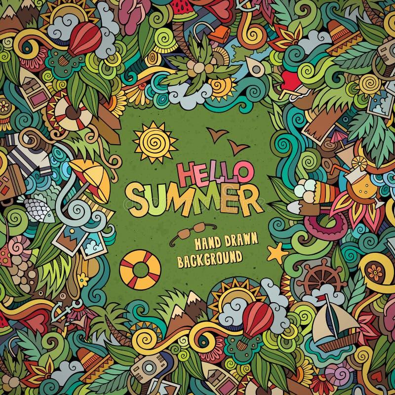 Quadro decorativo abstrato do vetor do verão das garatujas ilustração do vetor