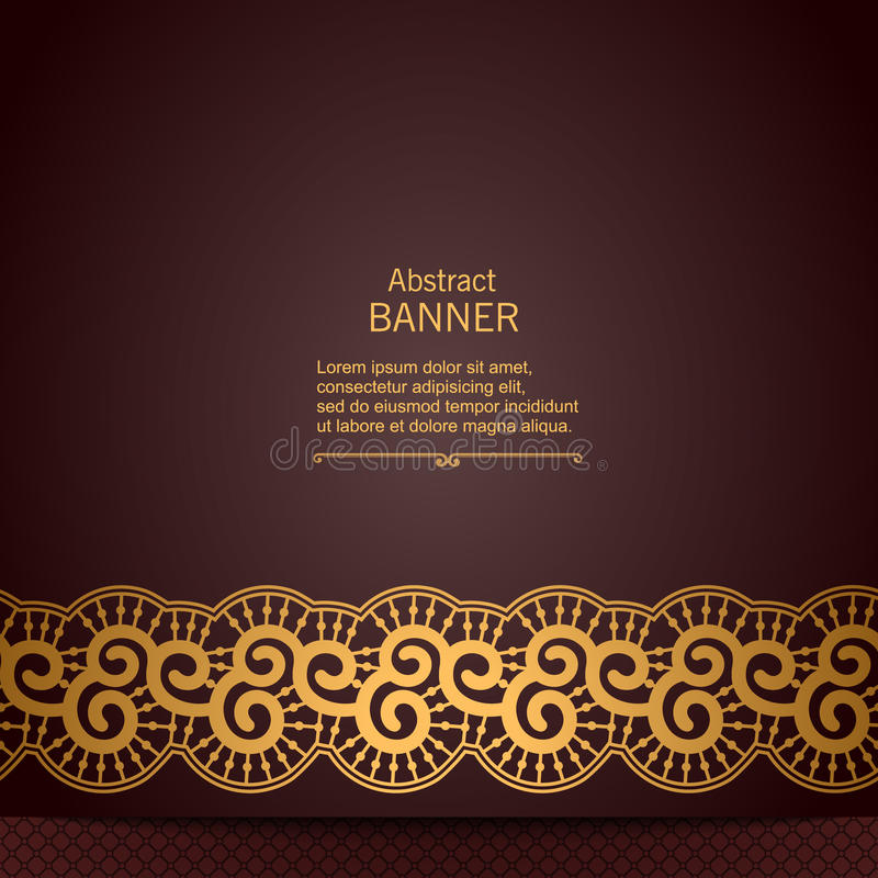 Quadro decorativo abstrato luxuoso com fita do laço ilustração stock