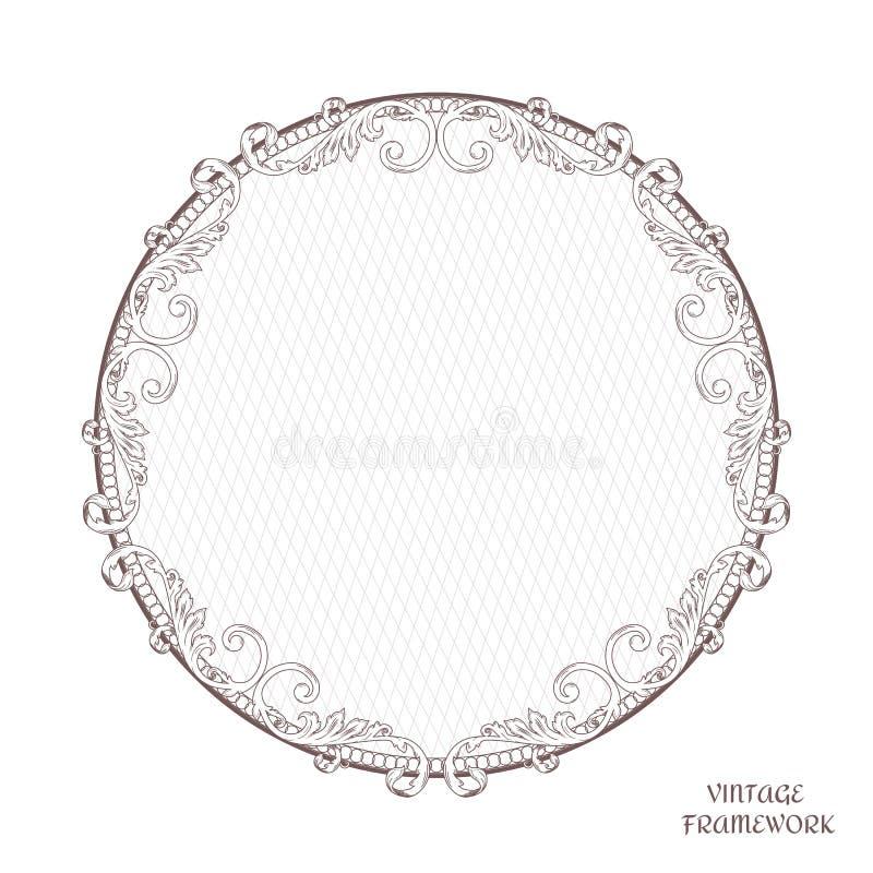 Quadro decorativo antigo do vintage da forma redonda, executado no estilo vitoriano Para imprimir, projeto ilustração royalty free