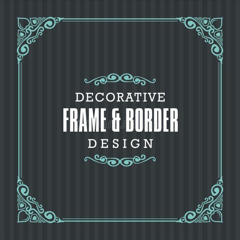 Quadro decorativo, beira com linha estilo decorativa ilustração stock