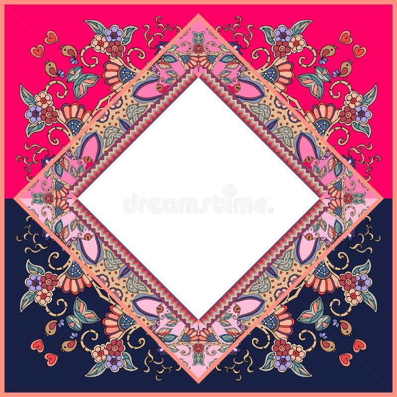 Quadro decorativo Cartão bonito do vetor com flores, pássaros e corações ilustração stock